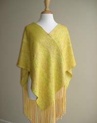silk, alpaca beaded handwoven v-cape