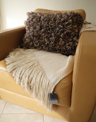 silk beaded sofa throw with handwoven mohair and wool pillow