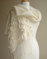 pure wool handwoven wrap with handspun felted loop detail